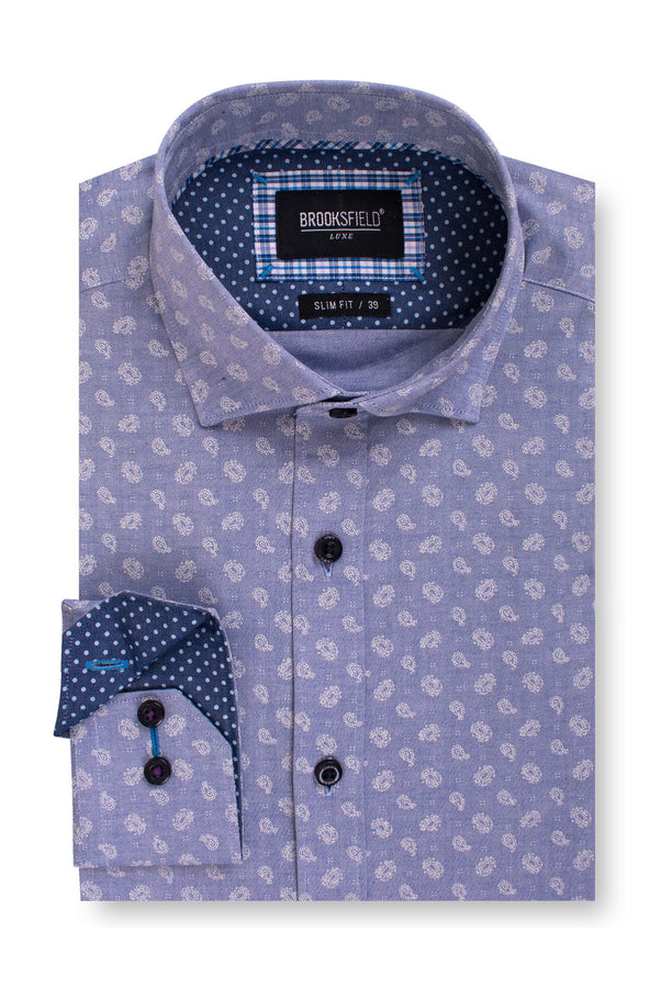 BFC1562 Luxe Paisley Print Oxford Sky-Shirts-Brooksfield-UPTOWN LOCAL