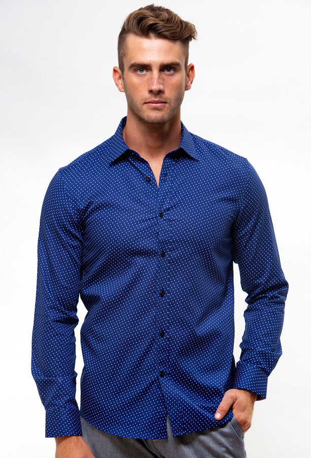 BFC1566 Luxe Textured Flower Print Navy-Shirts-Brooksfield-UPTOWN LOCAL