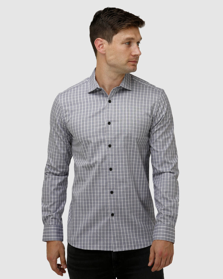 BFC1638 Luxe Modern Check Shirt - Wine-Shirts-Brooksfield-38-UPTOWN LOCAL
