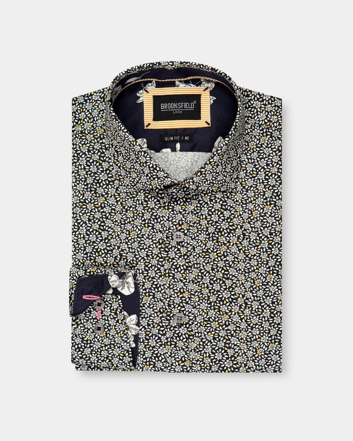 BFC1704 Luxe Floral Print Shirt - Black-Shirts-Brooksfield-38-UPTOWN LOCAL