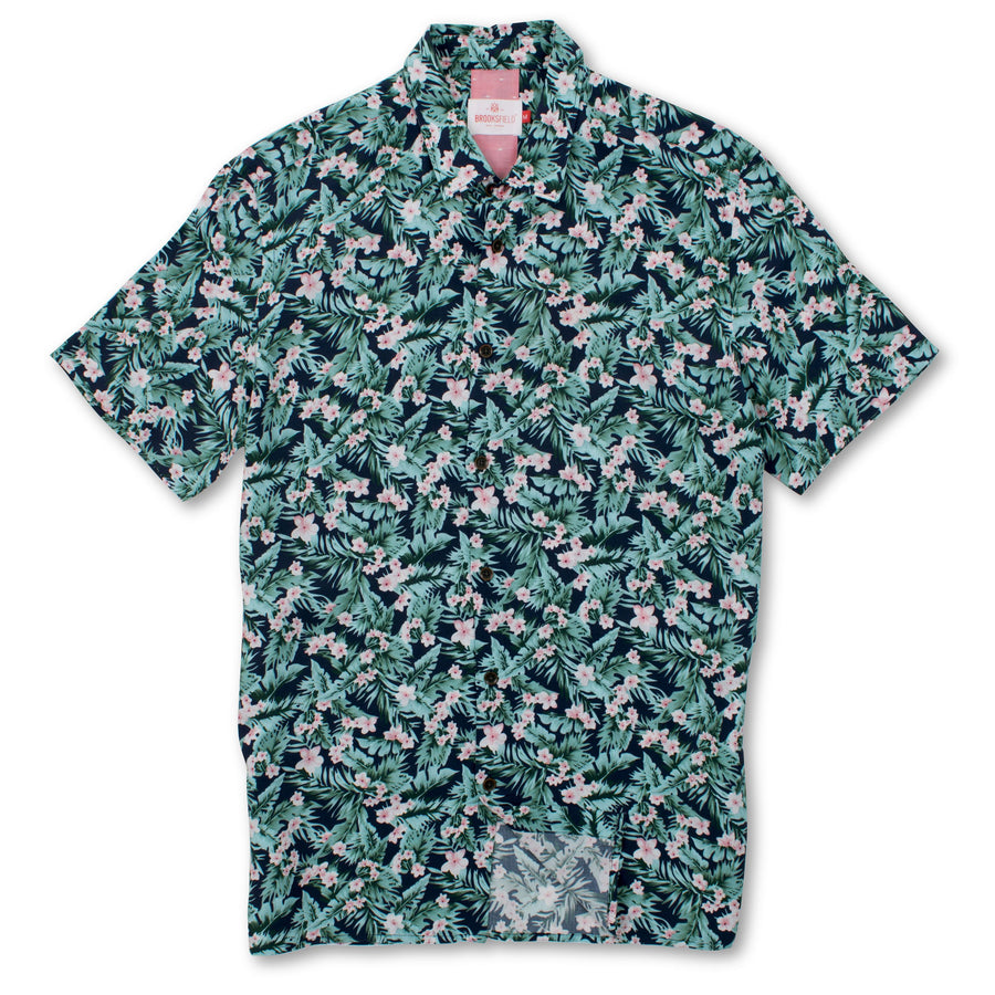 Tropical Print Casual Short Sleeve Shirt BFS923 Navy