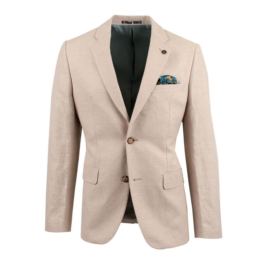 Linen Blend Textured Basket Weave Blazer Sand BFU801-Jackets-Brooksfield-UPTOWN LOCAL