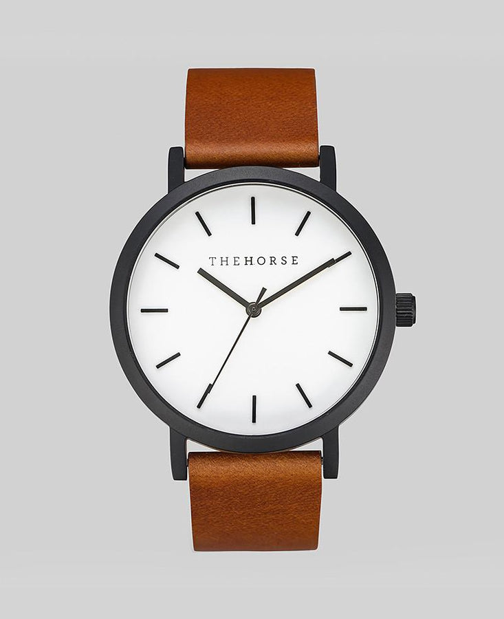 The Original - Matte Black / White Face / Tan Leather-Watch-The Horse-UPTOWN LOCAL