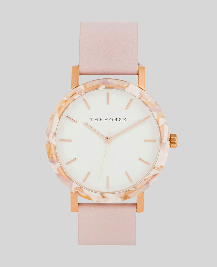 Resin Pink Nougat Shell / White Dial / Pink Band-Watch-The Horse-UPTOWN LOCAL