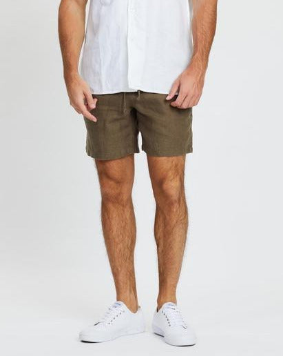Riviera Linen Short - Olive-Shorts-The Academy Brand-28-UPTOWN LOCAL