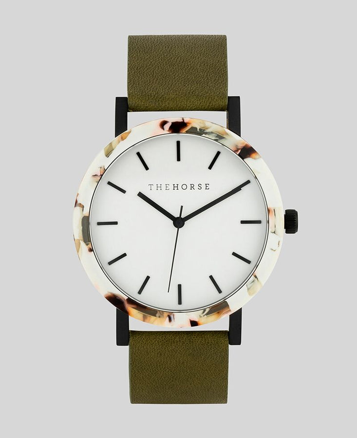 Resin Nougat Shell / White Dial / Olive Leather-Watch-The Horse-UPTOWN LOCAL