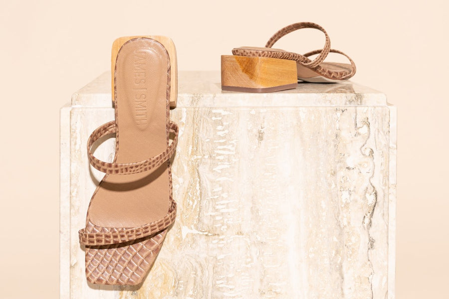 Salo Sandal - Brown Croc-Shoes-James Smith-37-UPTOWN LOCAL