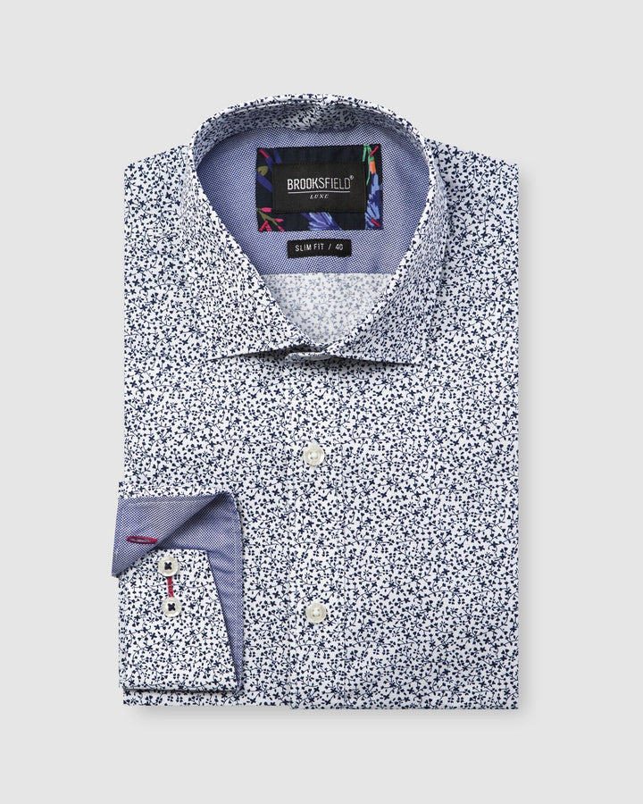 BFC1606 Luxe Leaf Print Slub Shirt Navy-Shirts-Brooksfield-UPTOWN LOCAL