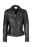 Classic Biker Jacket - Black Leather / Silver Hardwear-Jackets-ENA PELLY-UPTOWN LOCAL
