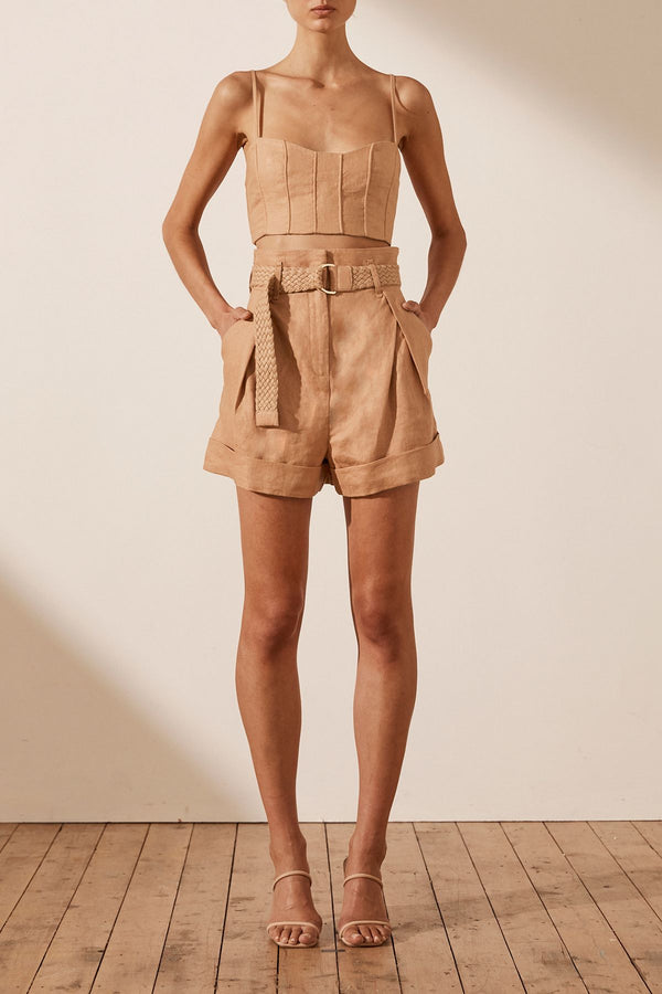 Rosa Short w Braid Belt Desert Rose-Shorts-Shona Joy-6-UPTOWN LOCAL