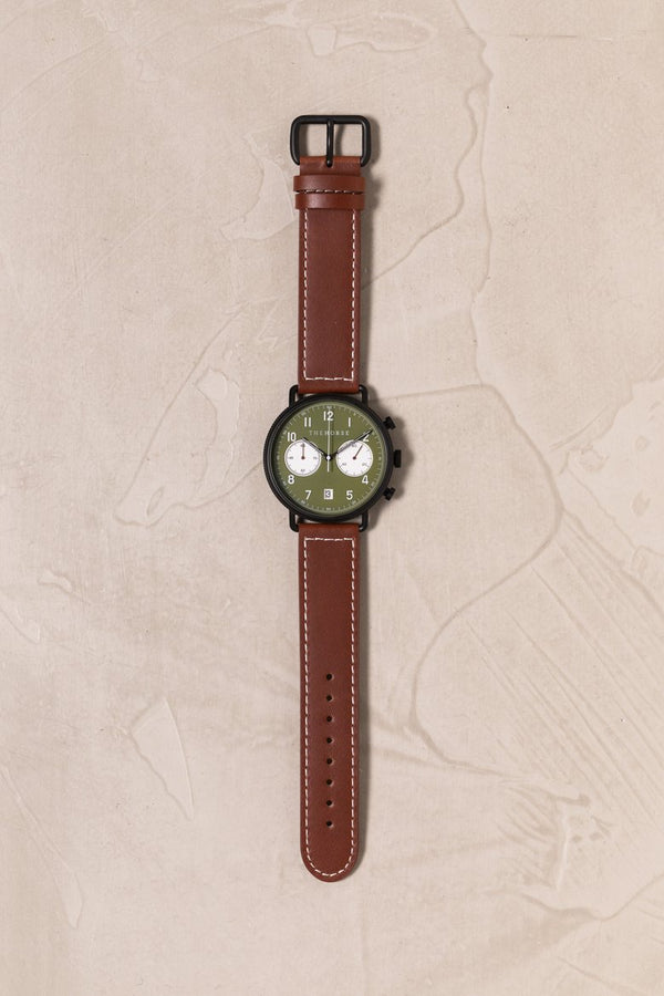 The Chronograph Khaki Dial Tan Leather-watch-The Horse-UPTOWN LOCAL