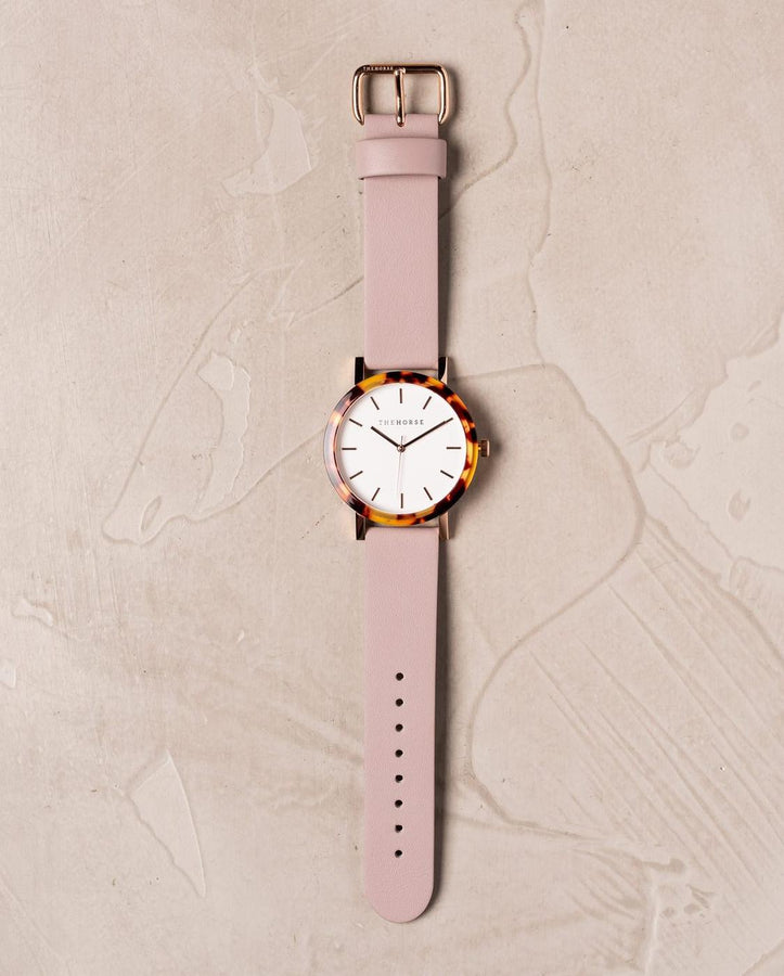 Resin Tortoise Shell Case / White Dial / Rose Gold Index / Blush Leather-Watch-The Horse-UPTOWN LOCAL