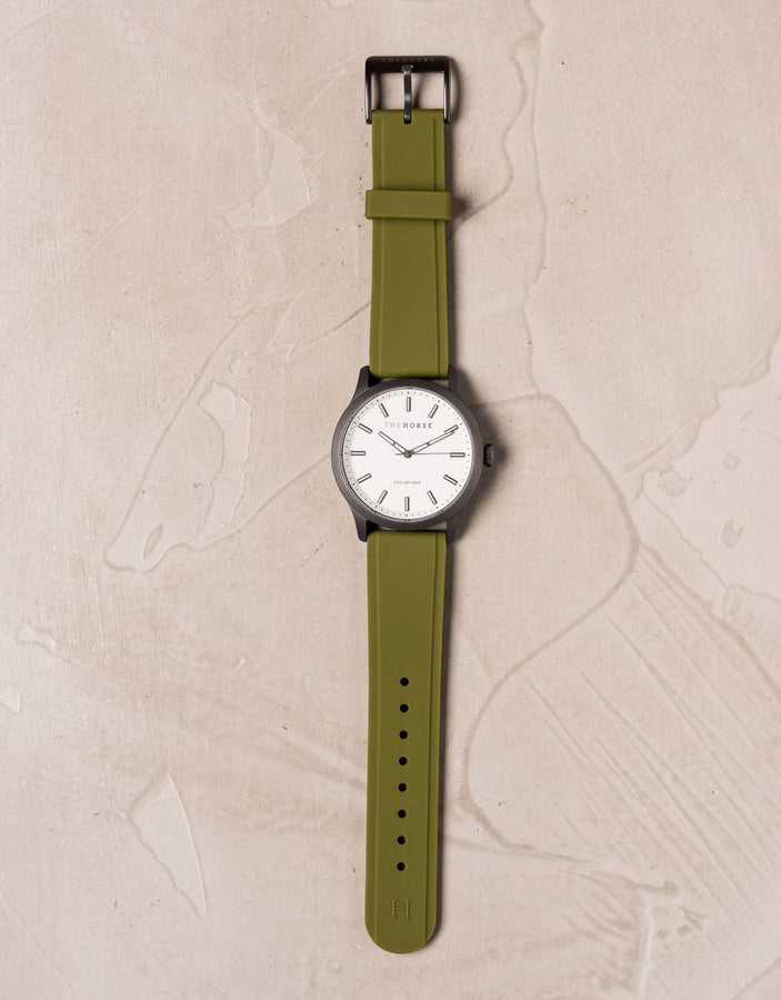 The Coast - Gunmetal Case / White Dial / Olive Silicone Strap-Watch-The Horse-UPTOWN LOCAL