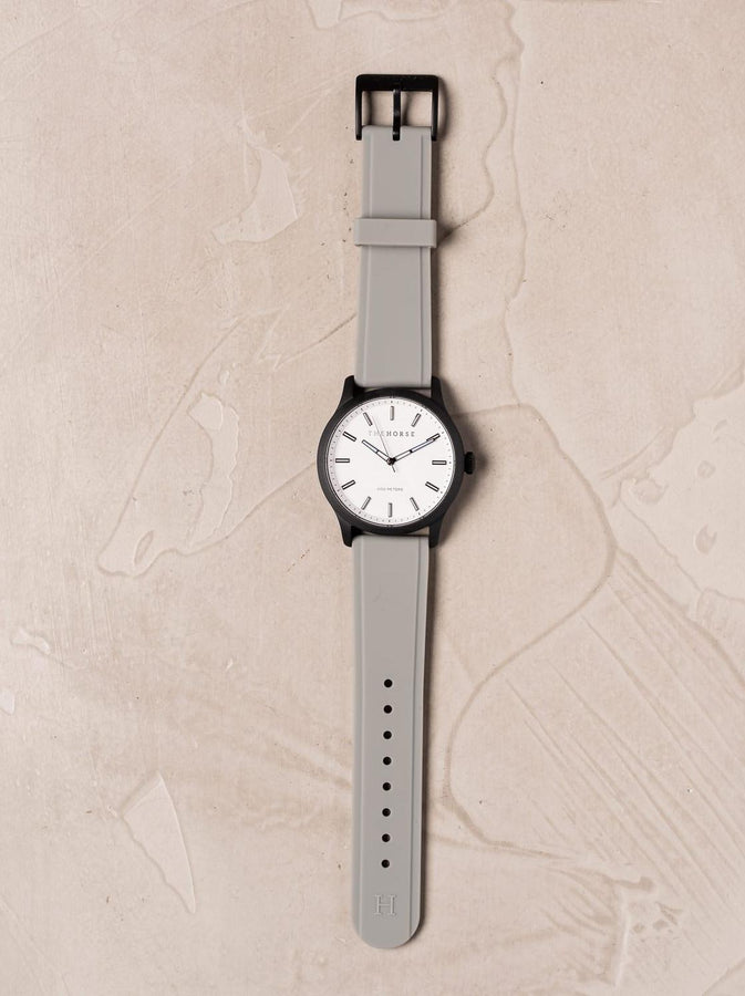 The Coast - Matte Black Case / White Dial / Grey Silicone Strap-Watch-The Horse-UPTOWN LOCAL