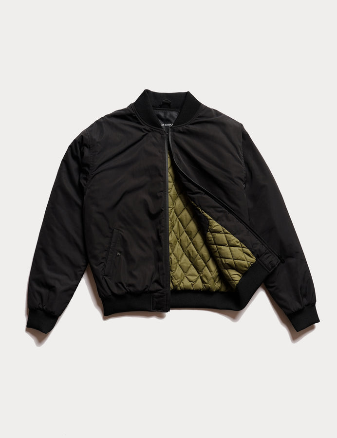 Bomber Jacket Black-Jackets-Mr. Simple-S-UPTOWN LOCAL