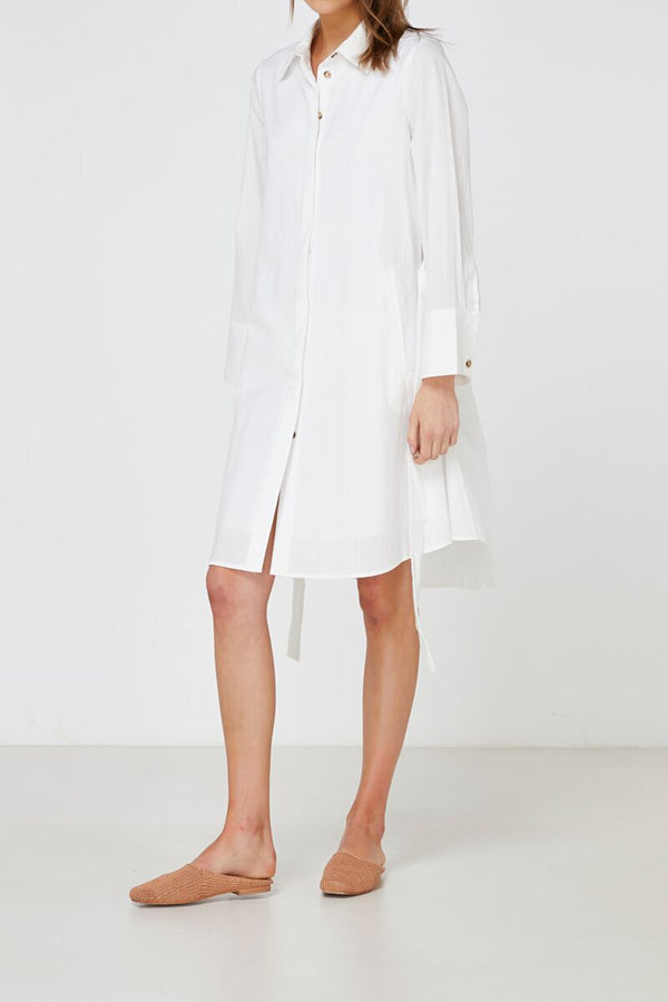 Aida Shirt Dress White-Dresses-Elka Collective-6-UPTOWN LOCAL