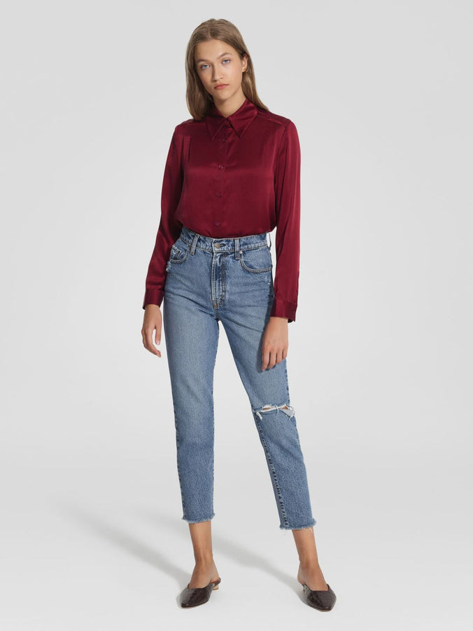 Gabrielle Silk Shirt Bordeaux-Tops-Nobody Denim-UPTOWN LOCAL
