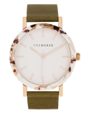 Resin Nougat Case / White Dial / Rose Gold Indexing / Olive Leather-Watch-The Horse-UPTOWN LOCAL