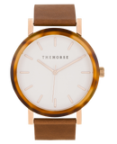Resin Caramel Treacle Face / White Dial / Rose Gold Index / Tan Leather-Watch-The Horse-UPTOWN LOCAL