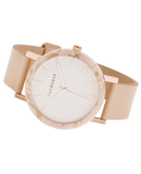 Resin Peach Speckle Case / White Dial / Rose Gold Indexing / Vegetable Tan Leather-Watch-The Horse-UPTOWN LOCAL