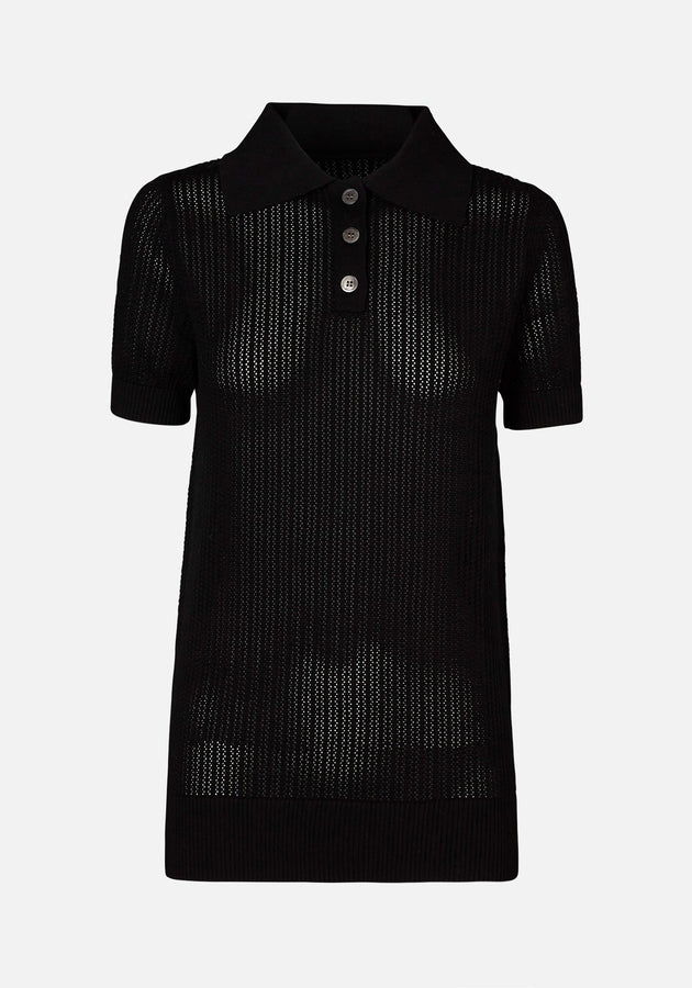 Double Polo Knit Black