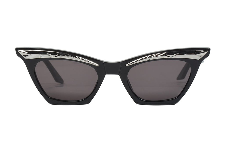 Seylah Gloss Black w. Silver Metal Trim/Black Lens-Sunglasses-Valley-UPTOWN LOCAL