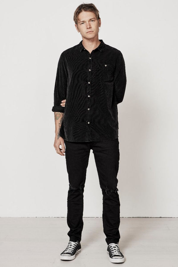 Men At Work Cord Shirt Acid Black