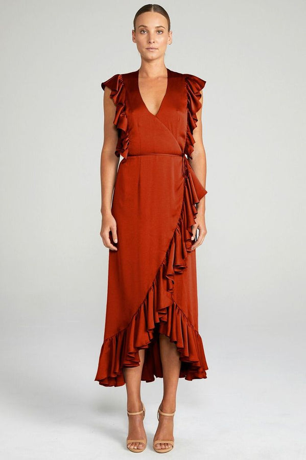 Anna Ruffle Wrap Midi Dress Burnt Red