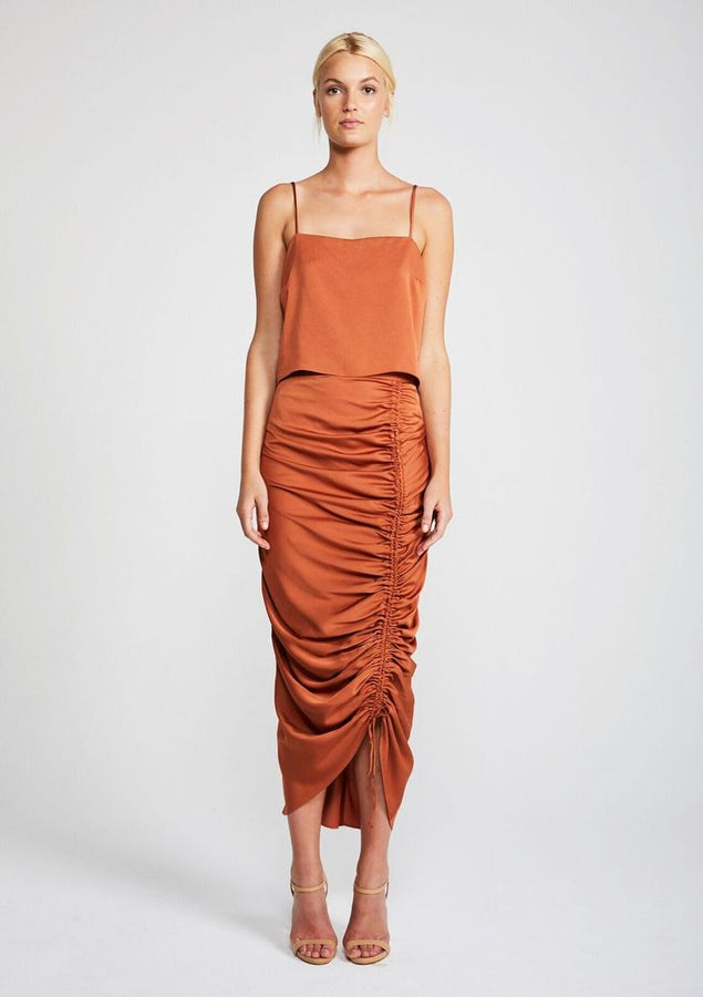 Solar Ruched Midi Skirt Copper-Skirts-Shona Joy-UPTOWN LOCAL