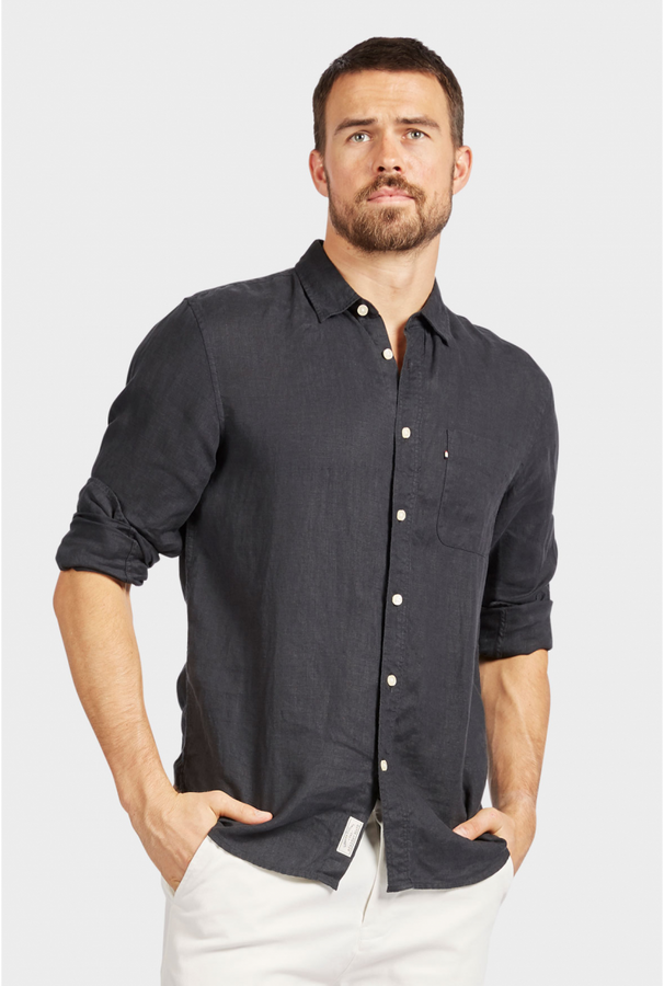 Hampton Linen Shirt Black-Shirts-The Academy Brand-UPTOWN LOCAL