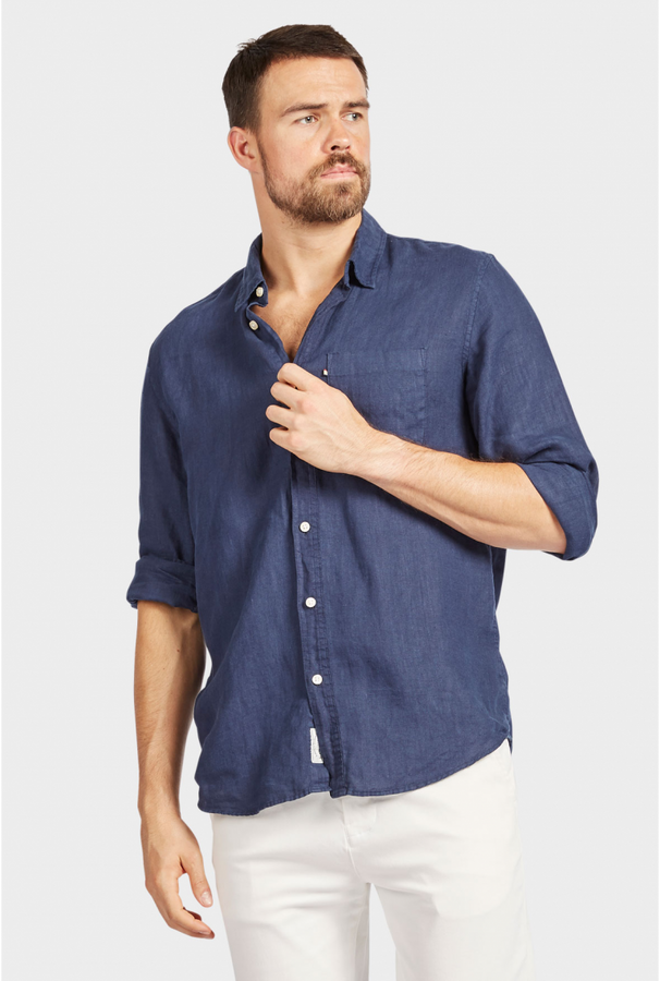 Hampton Linen Shirt Navy-Shirts-The Academy Brand-UPTOWN LOCAL