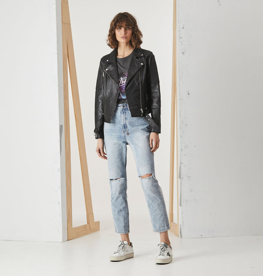Classic Biker Jacket Black/Silver-Jackets-ENA PELLY-XS-UPTOWN LOCAL