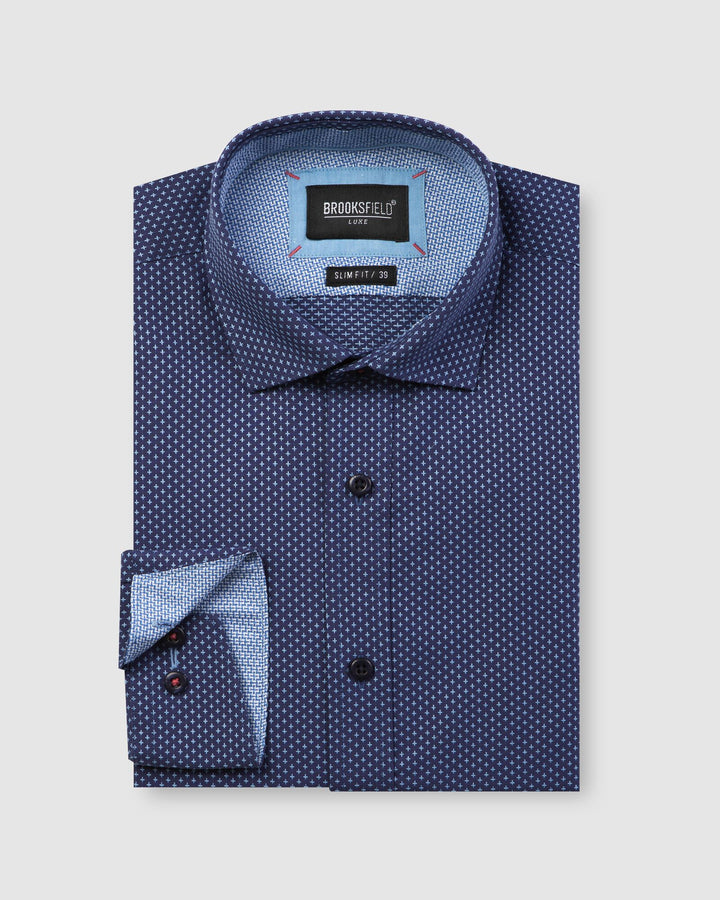 BFC1598 Luxe Cross Dobby Shirt Navy-Shirts-Brooksfield-UPTOWN LOCAL
