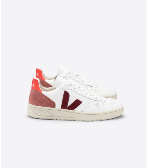 V10 Leather Extra White Marsala Dried Petal Orange Fluo-Shoes-Veja-UPTOWN LOCAL