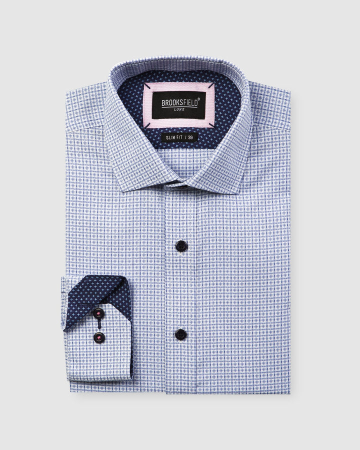 BFC1596 Luxe Textured Dobby Shirt Light Blue-Shirts-Brooksfield-UPTOWN LOCAL