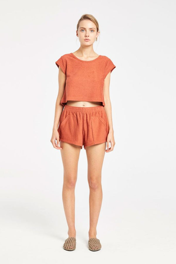 Dusty Towel Short Terracotta-Shorts-Zulu and Zephyr-UPTOWN LOCAL