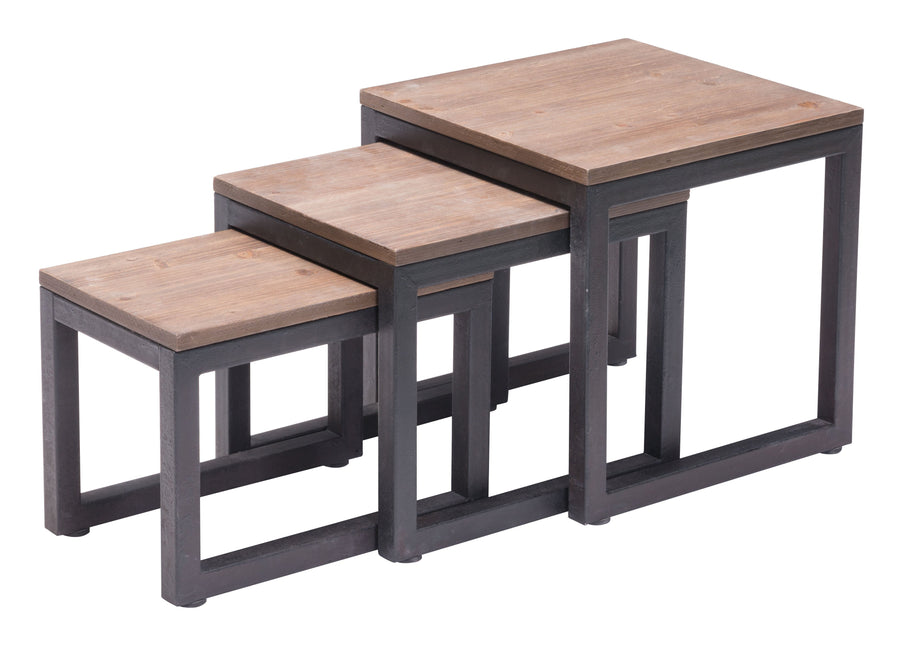 Civic Center Nesting Tables Distressed Natural image