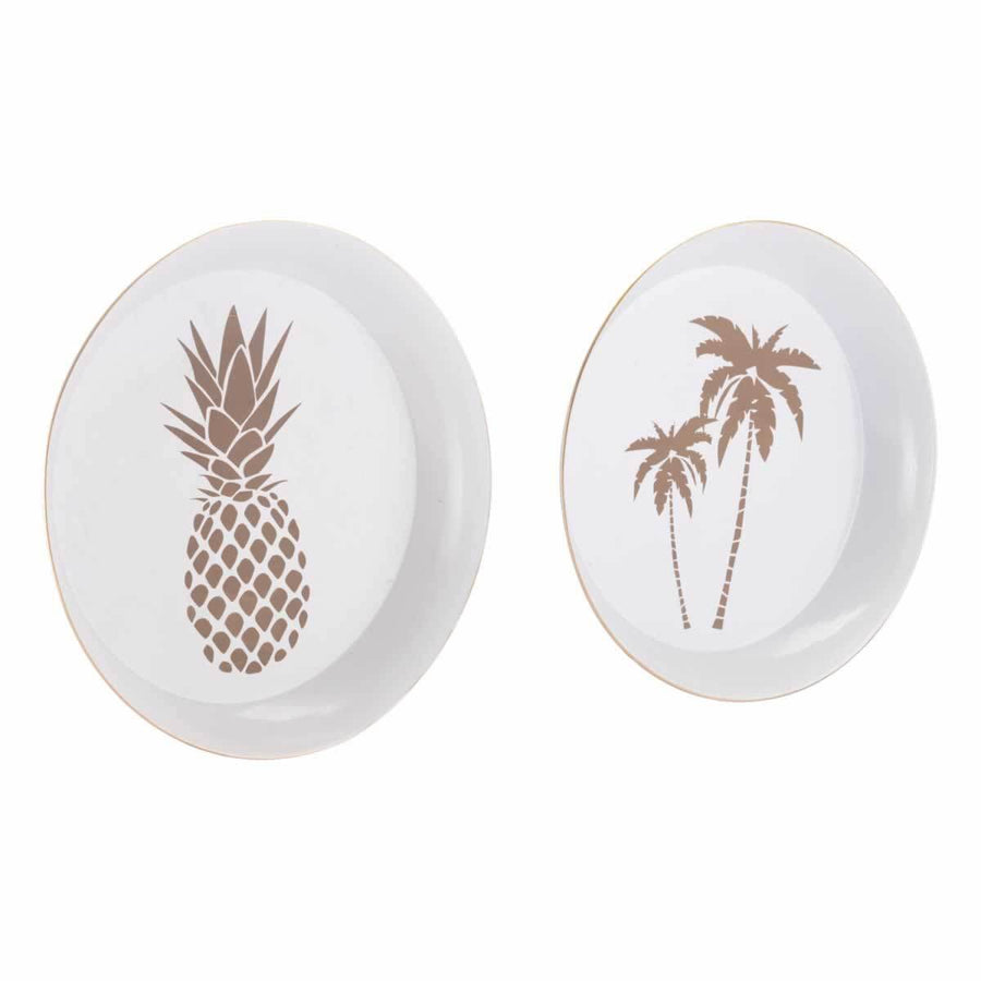 Palm Tree & Pineapple Tray Set White & Gold