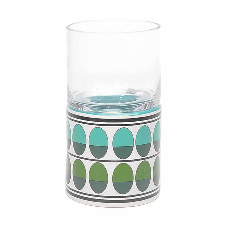 Retro Sm Candle Holder Green & Teal