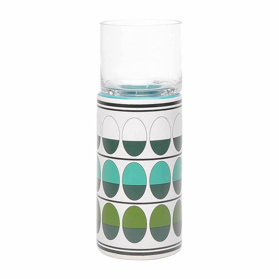 Retro Lg Candle Holder Green & Teal