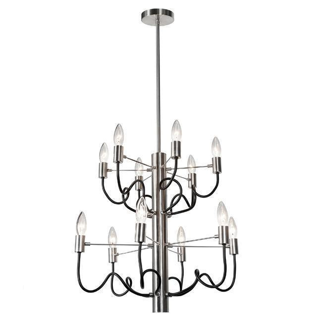 12LT Chandelier, Satin Chrome & Matte Black Finish image