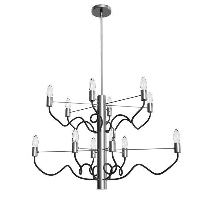 12LT Oval Chandelier, Satin Chrome & Matte Black image