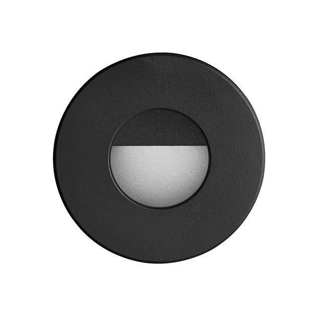 Black Round In/Outdoor 3W LED Wall Light image