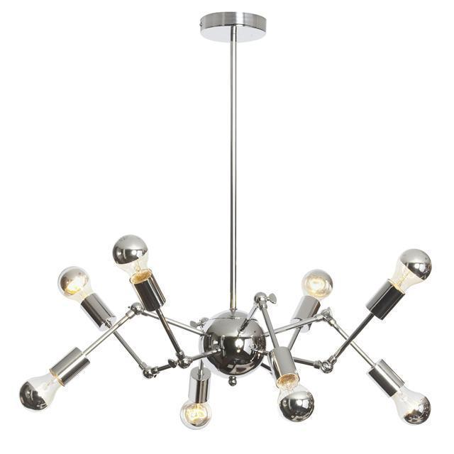 8LT Chandelier, w/ Adjust Arms w/ A19 Chrome Bulbs image