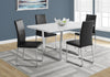 "DINING TABLE - 36""X 60"" / WHITE GLOSSY / CHROME METAL"