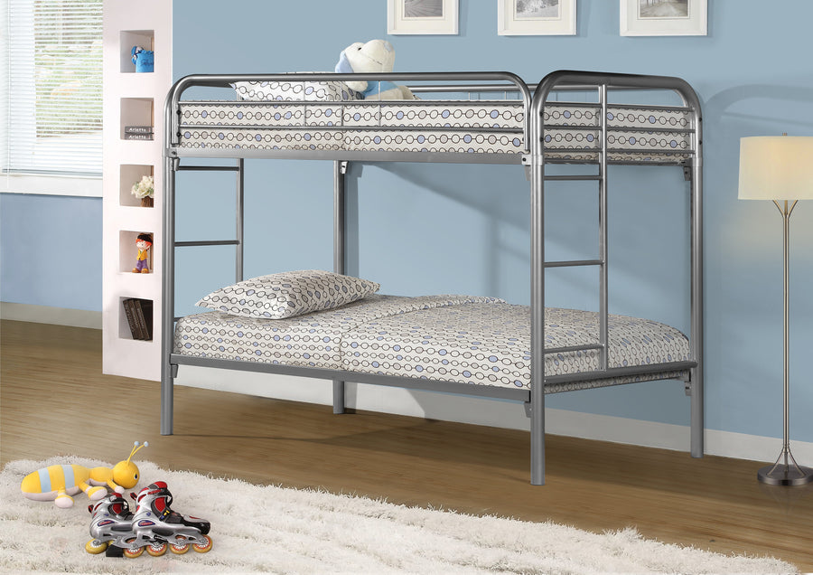 BUNK BED - TWIN / TWIN SIZE / SILVER METAL image