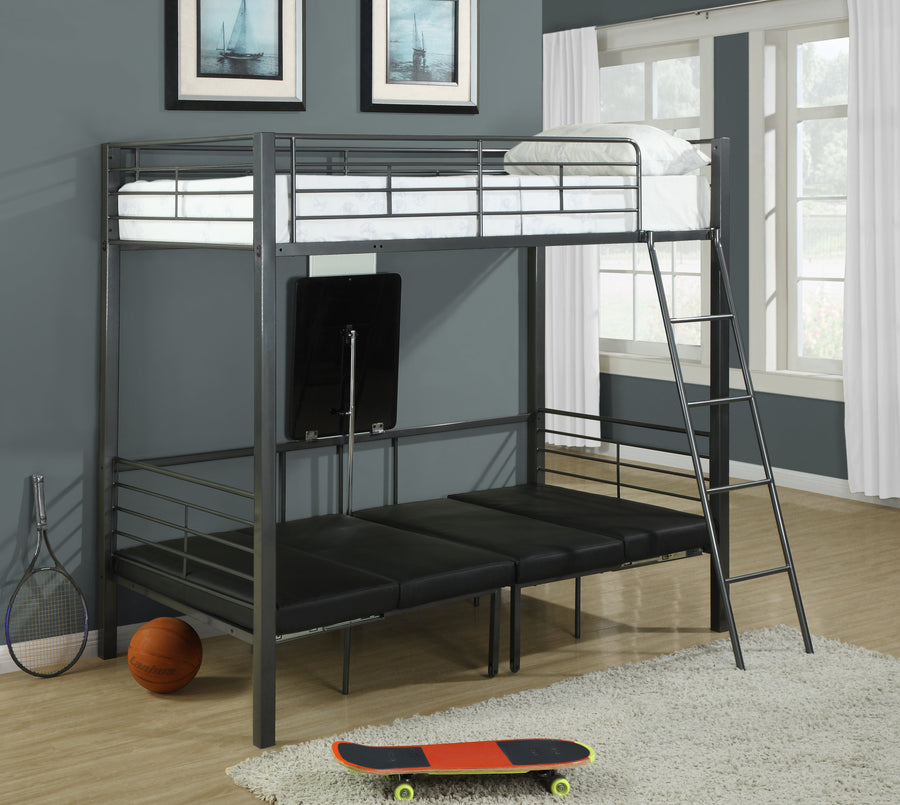 BUNK BED - TWIN SIZE / CHARCOAL GREY METAL image