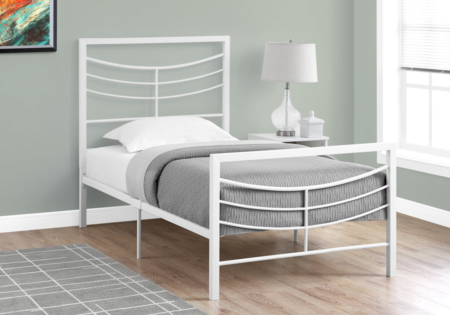 BED - TWIN SIZE / WHITE METAL FRAME ONLY image