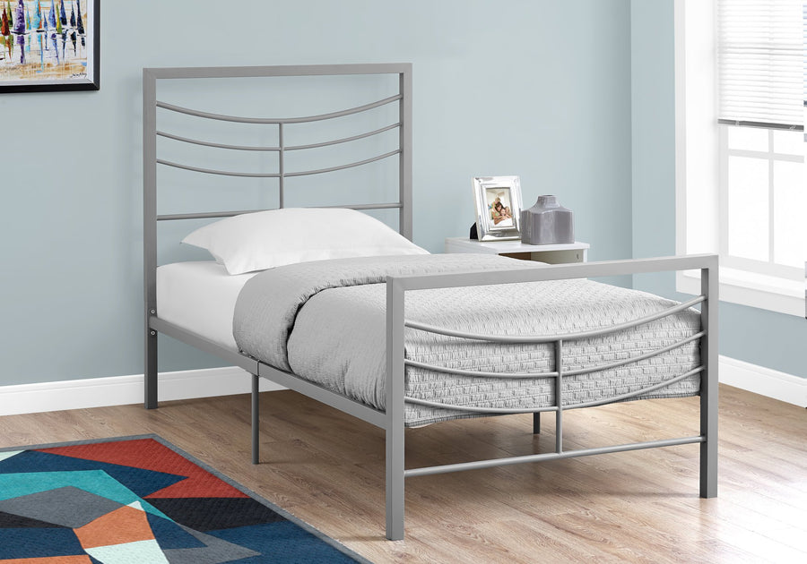 BED - TWIN SIZE / SILVER METAL FRAME ONLY image