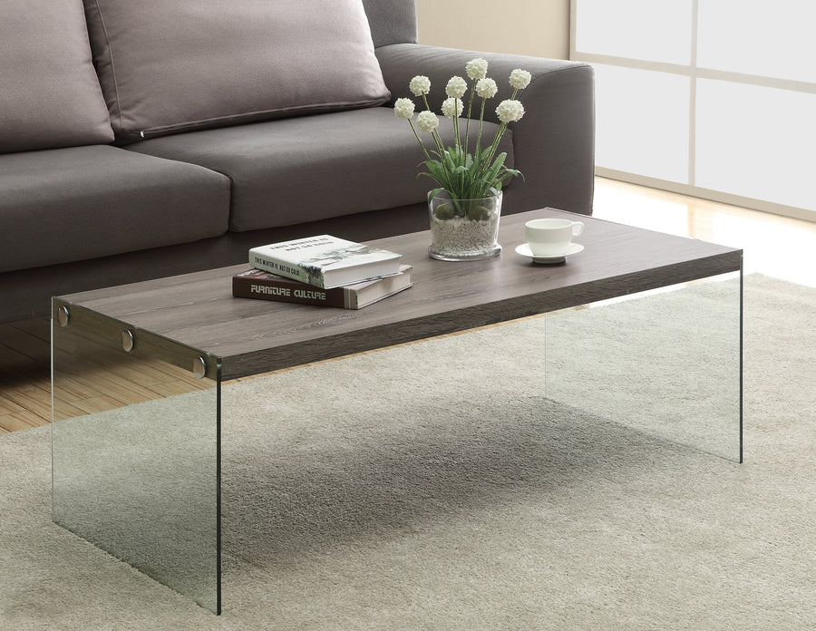 COFFEE TABLE - DARK TAUPE WITH TEMPERED GLASS image